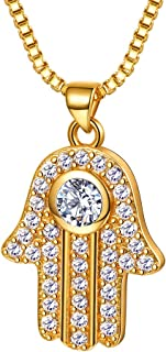 Hand of Fatima/Heart Allah Pendant Necklace, 925 Sterling Silver/18K Gold/Platinum Plated CZ Crystal Muslim Islamic Jewelry for Men Women (with Gift Box)