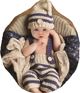 SUMIMARA Fashion Cute Newborn Boy Girl Baby Photography Props Costume Outfits Hat Pants Light Grey