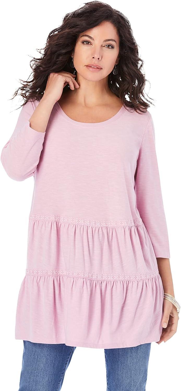 Roaman's Women's Plus Size Tiered Slub Jersey Tunic