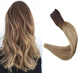 Full Shine Remy Hair Pack Sew In Straight Extensions Bundles Brazilian Weave Hair Blonde Remy Human Extensions Dark Brown 3/8/22 Balayage Ombre Hair Extensions Real Hair 12 Inch 80 Grams