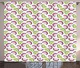 ABAKUHAUS Melone Rustikaler Gardine, Zusammenfassung Kiwi und Wassermelone, Schlafzimmer Kräuselband Vorhang mit Schlaufen und Haken, 280 x 260 cm, Rosa Baby-Rosa Apfelgrün und...