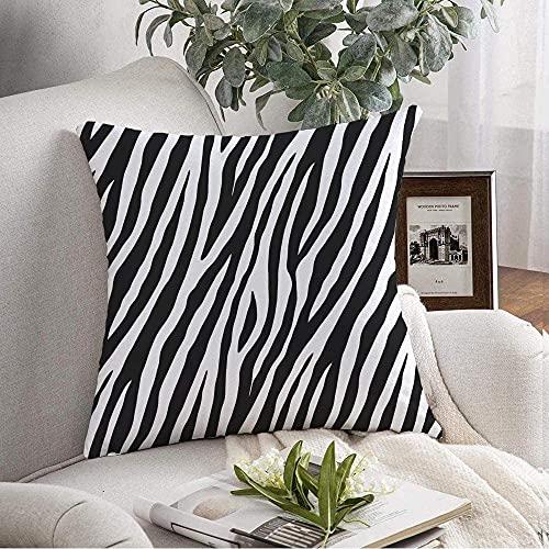 Funda de almohada decorativa de piel suave Diagonal Jungle Editar patrón repetido negro abstracto azulejos animales fauna salvaje texturas naturales