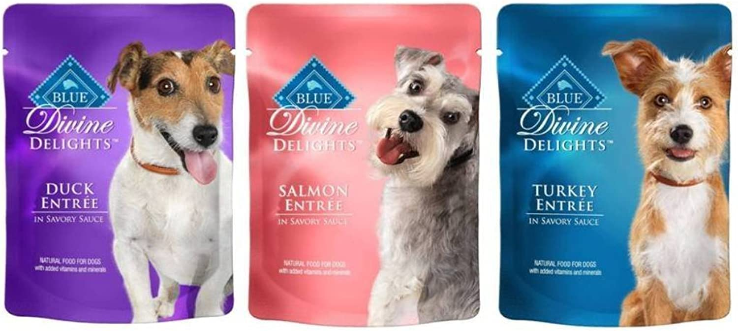 bluee Buffalo Divine Delights Natural Food For Dogs 3 Flavor Variety 6 Pouch Bundle  (2) bluee Divine Delights Duck Entree In Savory Sauce, (2) bluee Divine Delights Salmon Entree In Savory Sauce, and (2) bluee Divine Delights Turkey Entree In Savory Sauc