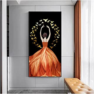 Cjyrjcc Wall Art Dancer Girl Dress Canvas Painting Portrait Posters And Prints Wall Art For Living Room Entrance Home Deco...