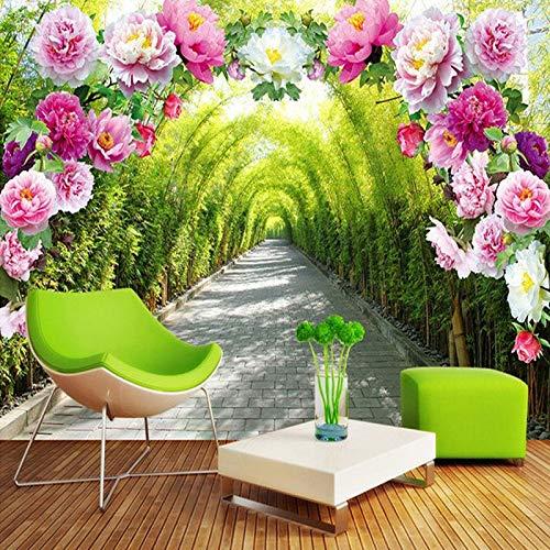 Fotobehang Photo Home Aangepaste 3D Mural Wallpaper Woonkamer Slaapkamer Slaapbank Achtergrond Behang Tuin Bloemen Bloem Deur Galerij Uitbreiden Ruimte Behang