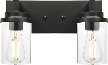 MELUCEE Black Sconces Wall Lighting Indoor 2-Light, Modern Industrial Vanity Lighting Fixtures Over Mirror for Bathroom Bedro
