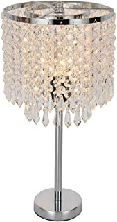Naiflowers Crystal Bedside Table Lamp, Modern Nightstand with Crystal Lamp Shade Decorative Desk Lamps for Bedrooms, Office, College Dorm, Dinning Room, Girls Room, Living Room (Silver)