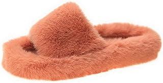 Pantoffels voor dames, pluizig huisschoenen, vrouwen, diapositief, open kant, bont, plat, damespantoffels, huisschoenen, h...