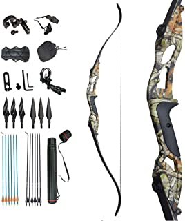 """D&Q Archery 56"""" Takedown Recurve Bow and Arrow Set Right Hand Longbows Kit 30-50lb Draw Weight for Adults Youth Hunting Sh..."""