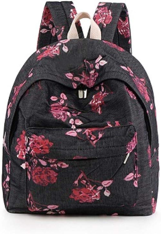 LKHJ Backpack Blaumendruck Rucksack Frauen Floral Bookbags Leinwand Ruckscke Schultasche Für Mdchen Rucksack Weibliche Reise Dailypack