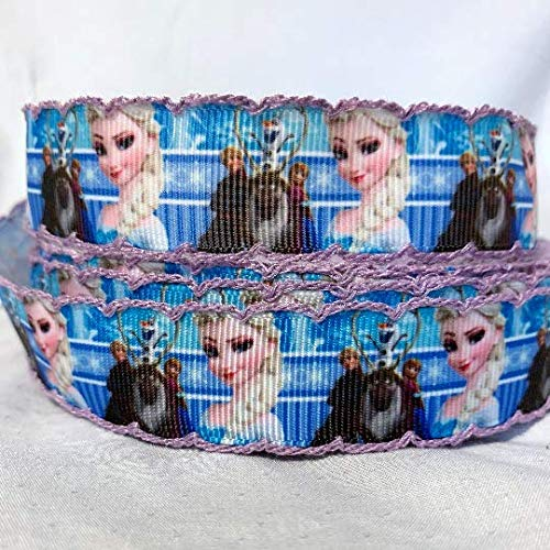 "Grosgrain Ribbon 1"" Frozen Elsa Anna Princess Olaf with Crochet Border Printed Per Yard"