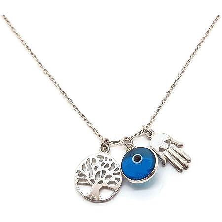 MYSTIC JEWELS - Collar Plata de Ley 925 - Tres simbolos, Mano de Fatima & Arbol de la Vida & Ojo de la buene Suerte