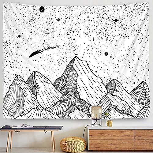 Tapiz de luna Mandala indio Blanco y negro Estrellado Patrón europeo Paño de pared Dormitorio Sala de estar Decoración Tapiz A12 180x230cm
