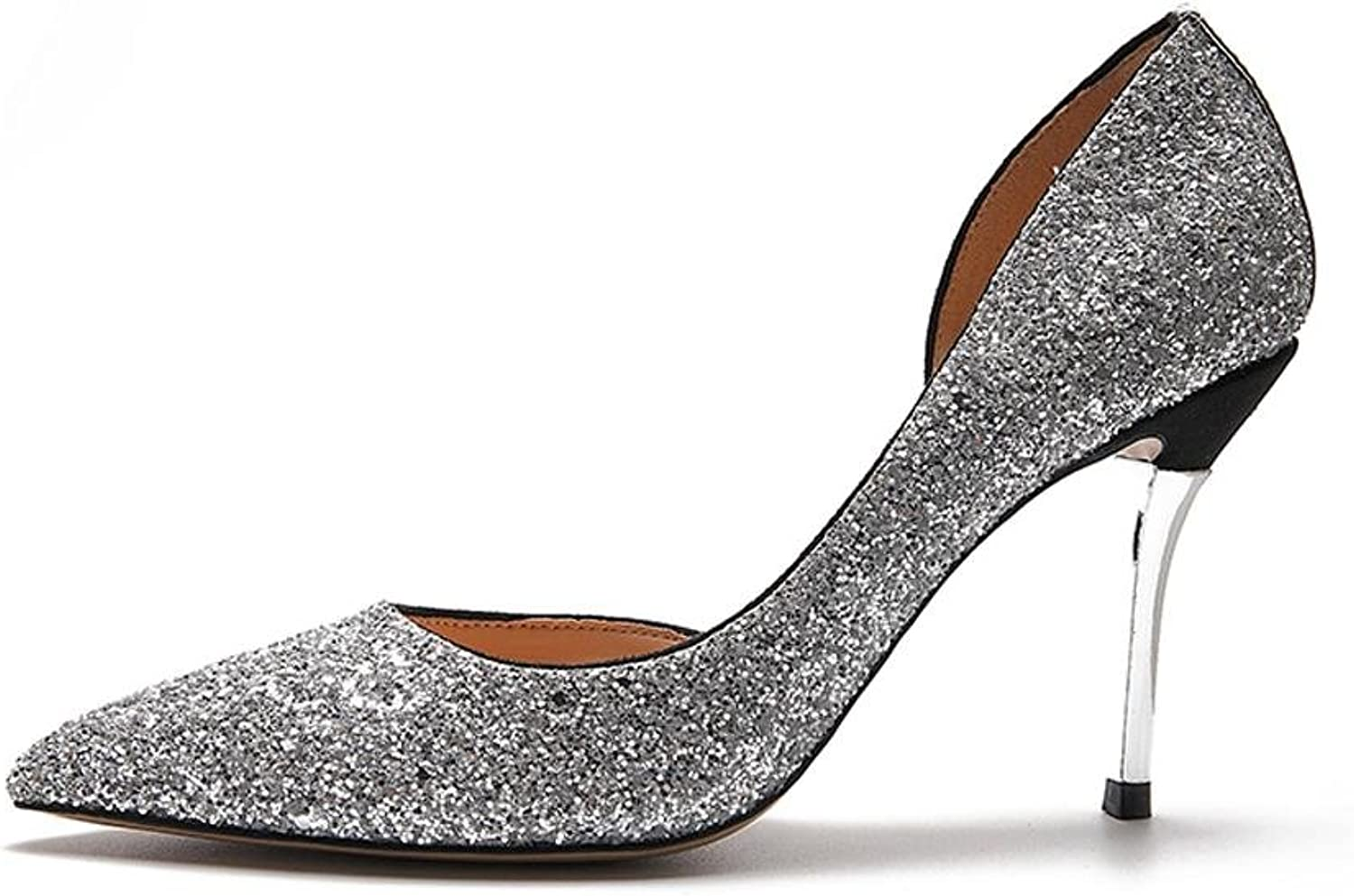 L@YC Women High Heels Side Empty Sandals Fine with Pointed Crystal Ball Dress