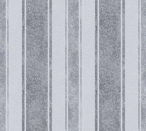 Livingwalls Vliestapete Jette Joop Tapete gestreift 10,05 m x 0,53 m blau grau metallic Made in Germany 339251 33925-1
