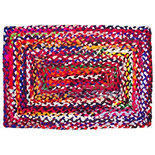 Sadivi Alfombra de algodón vibrante – Multicolor trenzado a mano reversible Chindi alfombra trapo, los colores pueden variar (2 x 3 pies de algodón (rectangular))