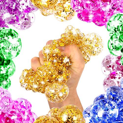 German Trendseller® 12 x Ultra Squishy - Glitzer Quetschball ┃ Marble Glibber Ball ┃ Mitgebsel ┃ Kindergeburtstag ┃ Anti Stress - Bubble Ball┃12 Bälle