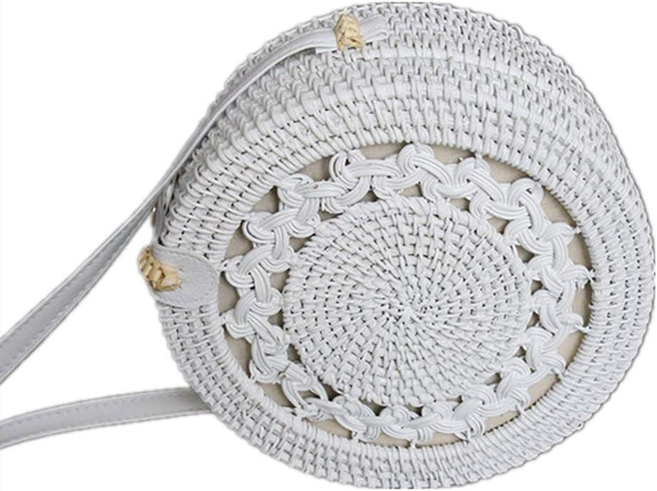 LiuliuBull supreme D Women Bargain Handwoven Wicker Weave Messenger Bag Roun