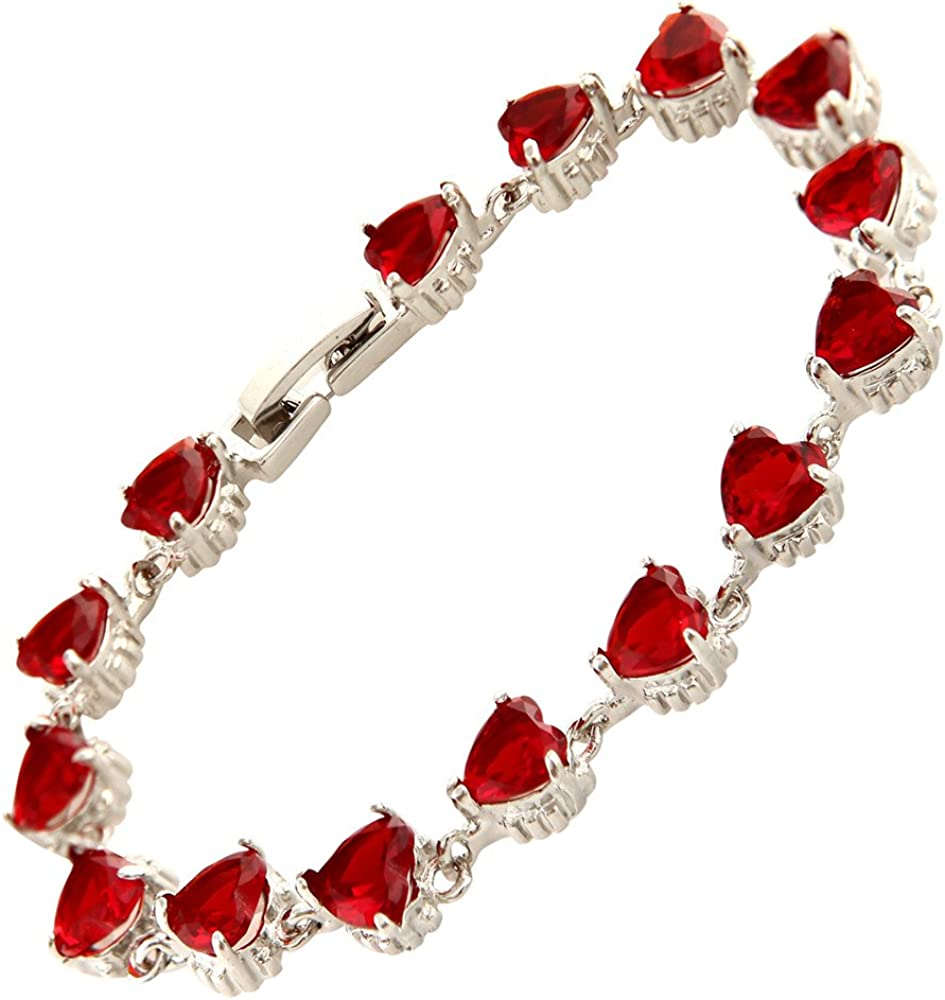 RIZILIA Limited price Hearts Tennis Bracelet Heart Rub CZ Simulated Cut Sales of SALE items from new works Red