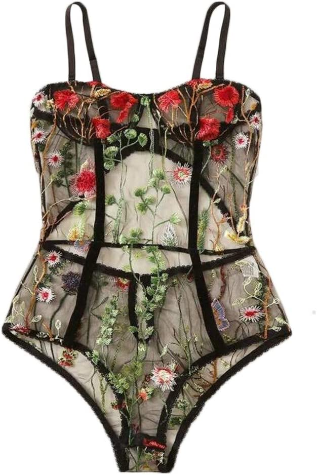 Reooly Lingerie Body Hueco Mono Bordado Floral sin ...