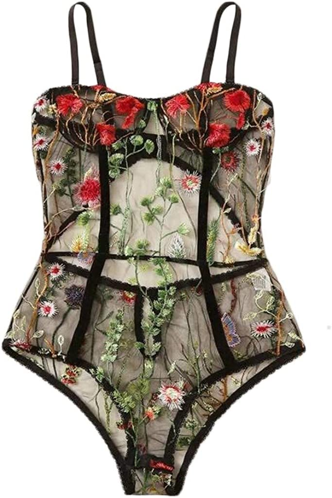 Women One Piece Lingerie Lace Bodysuit Deep V Teddy Mini Babydoll Strappy Lingerie for Women Girls Valentine