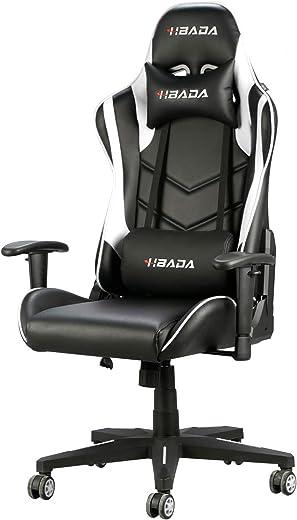 Hbada Gaming Stuhl Racing Stuhl Bürostuhl Chefsessel ergonomischer Drehstuhl Computerstuhl Kunstleder mit Kopfstütze und Ledenkissen Weiß