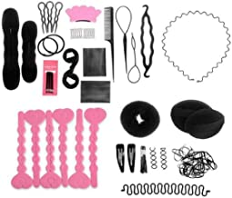 Set of 20 Donut Bun Maker Fashion Hair Design Styling Accessory Maker Pads Hairpins Hairabands Clips Donut Maker Hair Braiding Tool Kit for Ladies Girls DIY Magic Hair Twist Styling Set