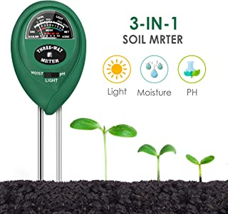 CharmUO Soil Moisture Meter, 3-in-1 Soil Moisture/Light/pH Tester Gardening Tool Kits,..