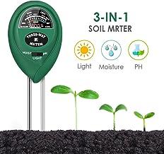 CharmUO Soil Moisture Meter, 3-in-1 Soil Moisture/Light/pH Tester Gardening Tool Kits,..