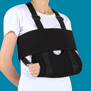 Enshey Arm Sling Shoulder Immobilizer Rotator Cuff Support Brace Medical Ergonomic Adjustable Comfort Black Strap with Adjustable Split Strap, Comfort Padding Support for Men, Women & Kids