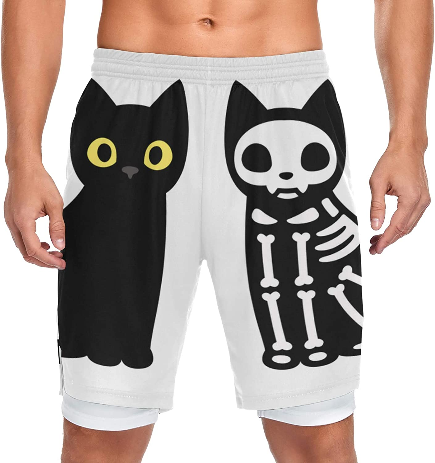 Running 2021 autumn and winter new Shorts Black Cat Drawing Men SkeletCute OFFicial mail order Sport Training W
