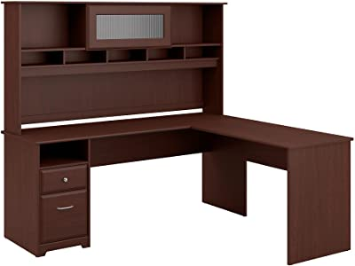 Bush Furniture Cabot 72W L Shaped Computer Desk with Hutch and Drawers in Harvest Cherry