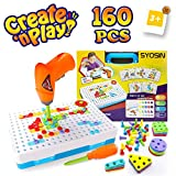 SYOSIN Electric Drill Puzzle Toy for 3 4 5 6 Years Old Kids,Construction Toys Drill Creative Educational Gifts Tool Kit Building Blocks Fine Motor Skills Activity Center for Children