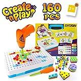 SYOSIN Steckspiel Bohrmaschine Mosaik Spielzeug Bohrer STEM Schrauben Kreatives DIY Werkzeuge Spielzeug Steckspiele für 3-6 Jahre Kinder (160 Stücke)