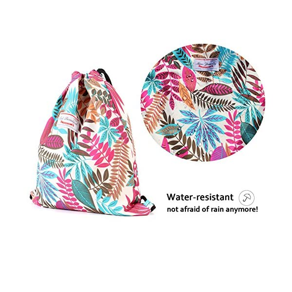 Drawstring Bag Water Resistant Floral Leaf Lightweight Gym Sackpack for Hiking Yoga Gym Swimming Travel Beach 5