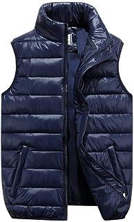 男性の秋と冬のパジャマのウエストコートファッションウィンタースタンドカラーポケットダウンベスト (色 : 青, サイズ さいず : S s)