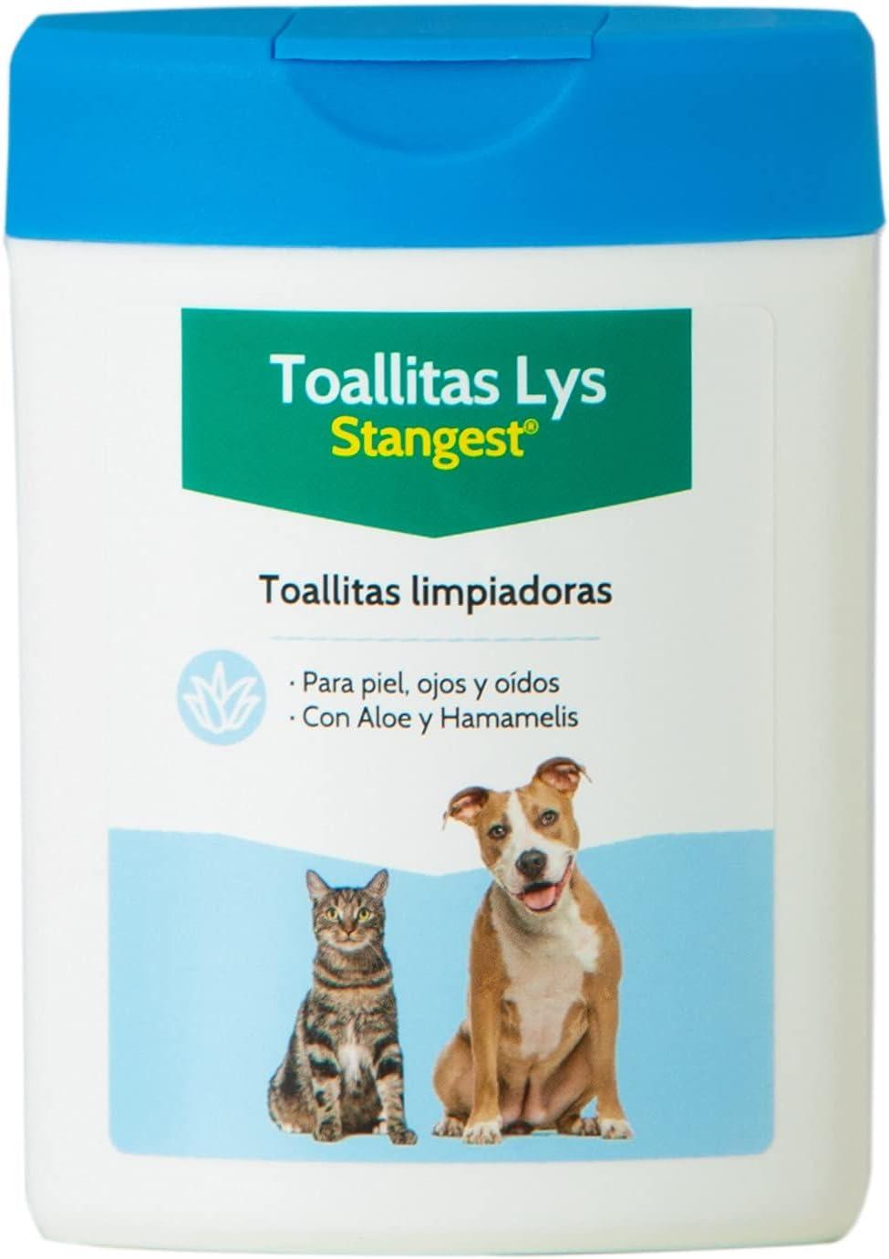 Stangest Toallitas Higiénicas LYS para Perros y Gatos   Limpieza Ojos, Oídos y Piel   Toallitas Limpiadoras con Aloe Vera y Agua Hamamelis   40 Unidades