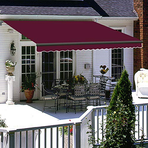 Greenbay 2.5 x 2m Retractable Manual Awning Folding Awning with Fittings and Crank Handle Garden Sun Shade Canopy Gazebo (Wine Red)