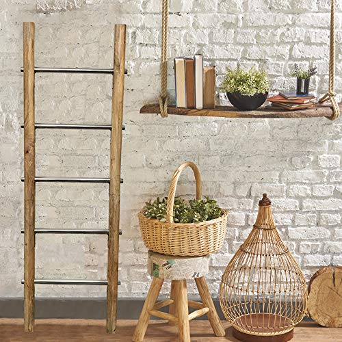 Towel Ladder for Bathroom in Modern Farmhouse Style | Handcrafted 5 ft Wooden Ladder with Stainless Steel Metal Rungs | Use as Blanket Rack - Quilt Ladder - Decorative Leaning Ladder