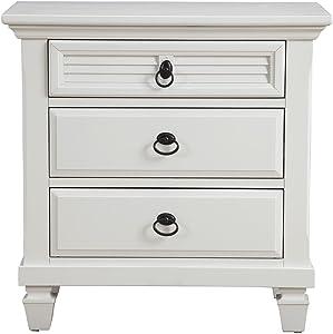 "Alpine Furniture Winchester Nightstand, 28"" W x 17"" D x 28"" H, White"