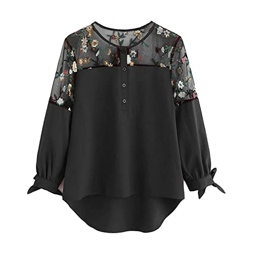 46e884d13 Milumia Women s Floral Embroidered Lace Panel Tie Cuff High Low Blouse Top