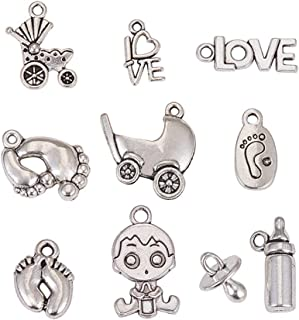 NBEADS 200g Mixed Tibetan Style Alloy Pendants for Baby Birth Christening Gifts Making,Antique Silver, 15-24x7.5-14x2-10mm, Hole: 2mm