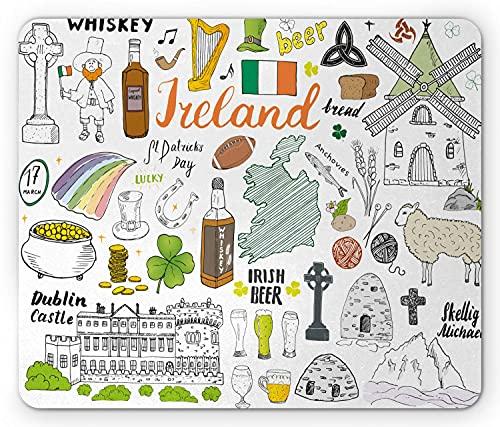 Dublin Mouse Pad, Symbolische irische Elemente Zusammensetzung Whisky Beer Castle Brot St. Patrick's Day, Rechteck rutschfestes Gummi-Mauspad, Standard Multicolor