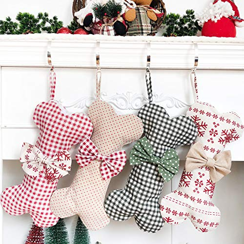 Beyond Your Thoughts Extra Large Cotton Christmas Stocking Dog Bone Holidays Gingham for Pets Christmas Ornament #2 Heart-16 inches x 9 inches