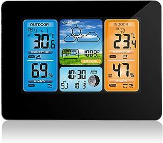 Phonleya Estación meteorológica inalámbrica Sensor Remoto de pronóstico de Color Digital con Reloj Despertador Digital, ba...