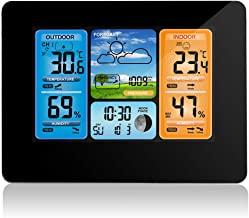 ALLOMN Wireless Weather Station with Color High Definition Display Indoor Outdoor Digital Thermometer Home Alarm Clock with Temperature Humidity Barometer Alarm Moon Phrase (Black)
