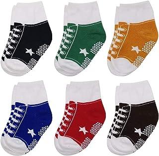 Baby Non Slip Infant Newborn Boys Girls Ankle Socks 6 Pairs