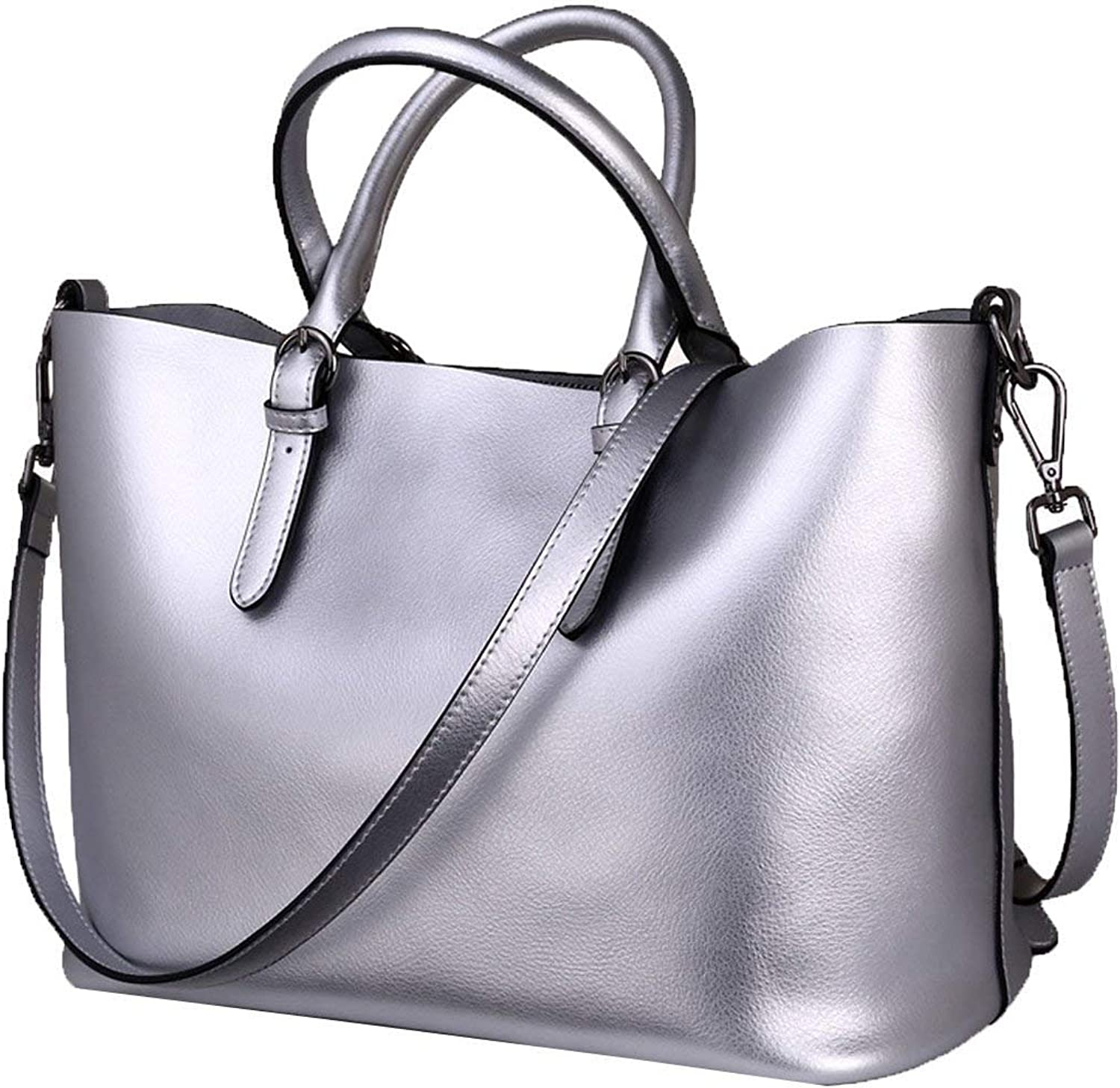 Evening Bag Women Fashion Genuine Leather Shoulder Bag Lady Casual Handbag Top Handle Satcel Tote Bag Multicolor Party Handbag (color   Silver, Size   Medium)