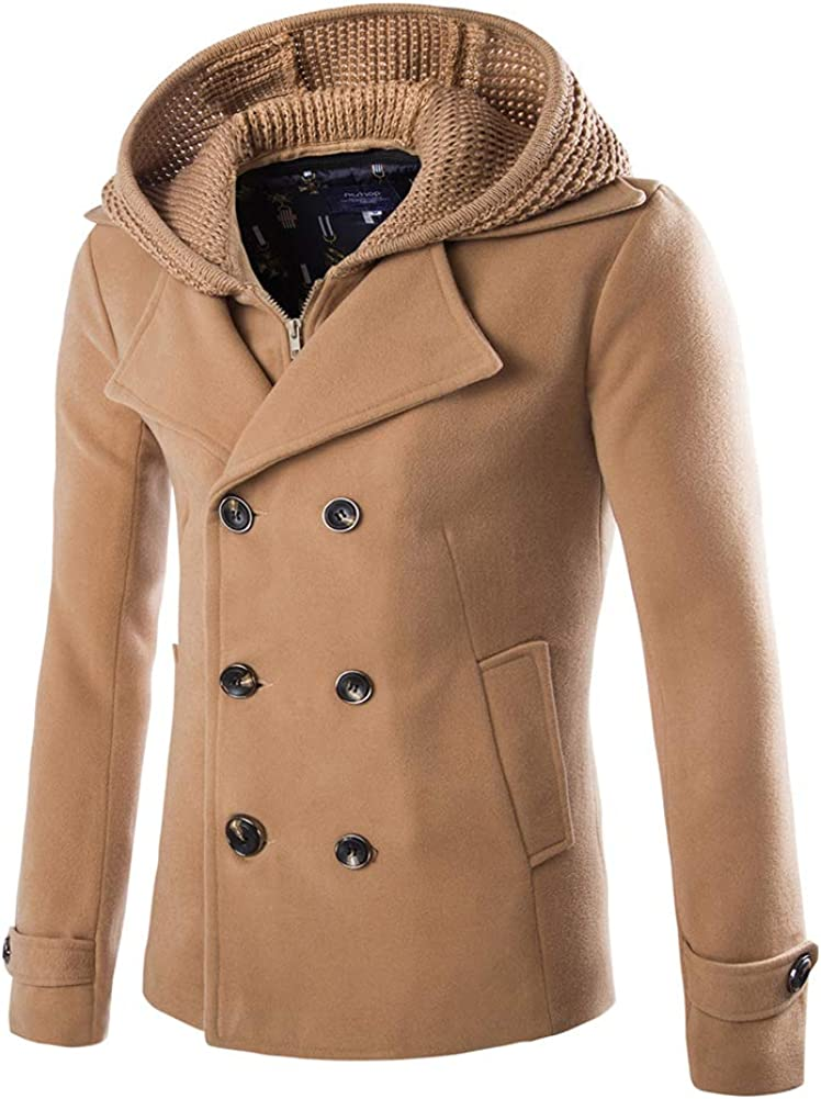 Beninos Mens Stylish Fashion Classic Wool Double Breasted Pea Coat with Removable Hood
