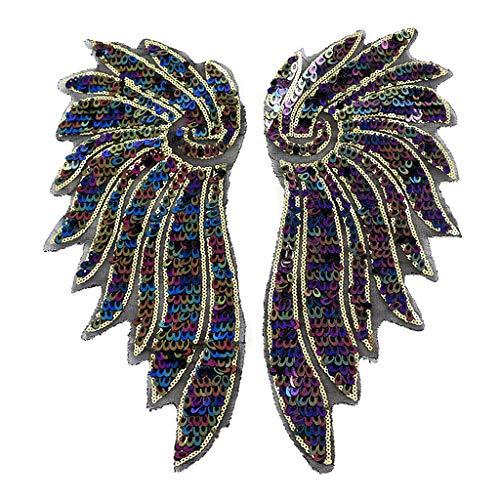 N/A. 2 unids/pack realistas grandes alas de ángel bordado parches aplicables, bricolaje exquisitos manualidades coser/planchar en la ropa camiseta jeans chaqueta decoraciones